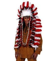 Deluxe Long Red/White Feather  Indian  Headdress
