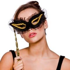 Eye Mask With Handle - Back/Gold (MK-9803-G)