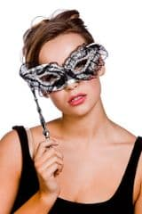 Eye Mask With Handle - Silver/Gold (MK-9803-S)
