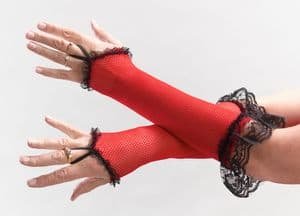 Fishnet Fingerless Gloves with Lace