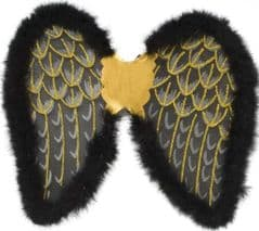 Glitter Wings with Marabou - Black