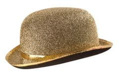 Gold Lame Bowler Hat