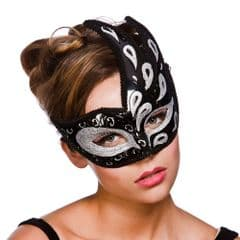 Livorno Eye Mask  - Black w Silver Glitter (MK-9816-BS)
