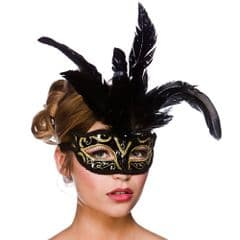 Milano Eye Mask  - Black w Gold Glitter (MK-9811-BG)
