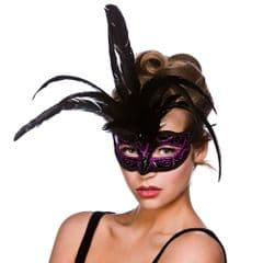 Milano Eye Mask  - Black w Purple Glitter (MK-9811-P)