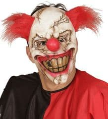 Smiling Killer Clown Face Mask  with Hair (00840)