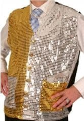 Unisex Gold/Silver Sequin Waistcoat