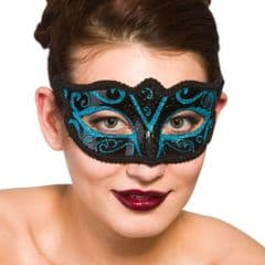 Verona Eye Mask  - Black w Blue Glitter (MK-9810-BU)