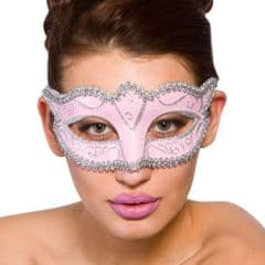 Verona Eye Mask  - Pink w Silver Glitter (MK-9810-PS)