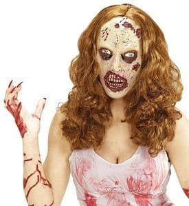 Zombie Woman Mask with Long Hair- (01013)