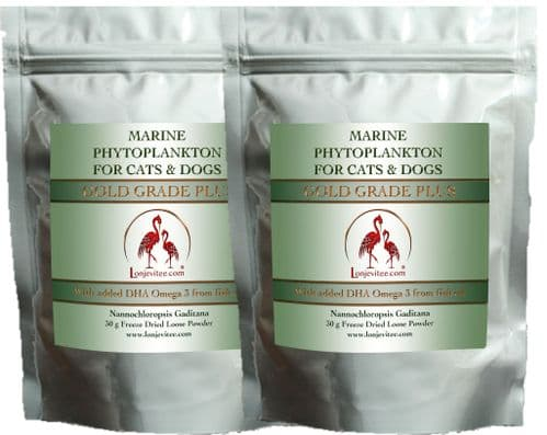 Phytoplankton Gold Grade PLUS for Cats & Dogs , with added fish oil. 2 x 30g pouches.