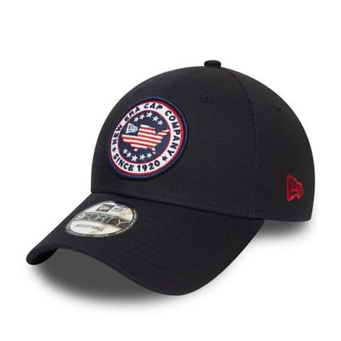 NEW ERA BASEBALL CAP.9FORTY USA PATCH NAVY COTTON CURVED PEAK STRAPBACK HAT S20
