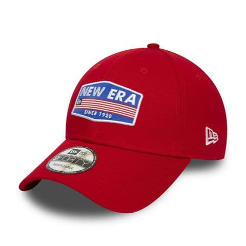 NEW ERA BASEBALL CAP.9FORTY USA PATCH RED COTTON CURVED PEAK STRAPBACK HAT S20 4