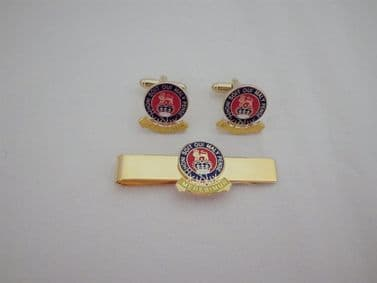 15th / 19th KING'S ROYAL HUSSARS CUFF LINK AND TIE GRIP / CLIP SET