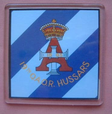 19th QUEEN ALEXANDRIA'S OWN ROYAL HUSSARS LARGE ACRYLIC COASTER