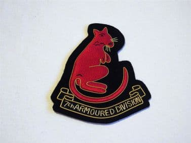 7th ARMOURED DIVISION ( THE DESERT RATS ) BLAZER BADGE