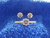 COLDSTREAM GUARDS CUFF LINKS AND TIE GRIP / CLIP SET