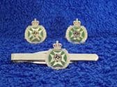 ROYAL GREEN JACKET ( RGJ ) CUFF LINK AND TIE GRIP / CLIP GIFT SET