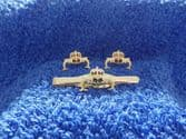 ROYAL NAVY SUBMARINERS CUFF LINKS AND TIE GRIP / CLIP GIFT SET