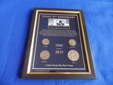 VE DAY 70th ANNIVERSARY 1945 - 2015 COINS IN A FRAME (ALL COINS DATE FROM WWII)
