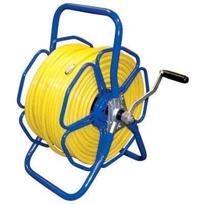 Metal Freestanding Hose Reel c/w 100m of 6mm Microbore + Fittings Kit