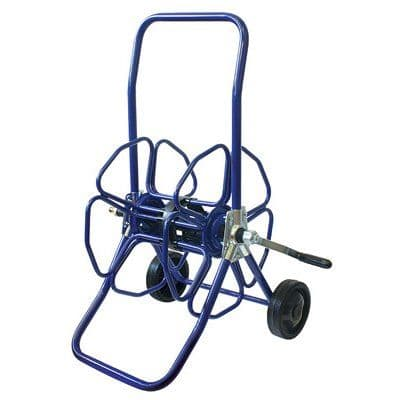 Robust metal wheeled hose reel.