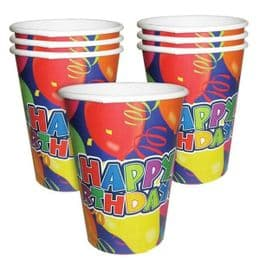 Happy Birthday Disposable Cups | Pack of 6 | Party Supplies