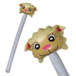 Inflatable Sheep Head Pole (145cm) | Childrens Big Blow Up Party Toy