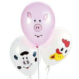 Make Your Own Farm Animal Balloons x 12 | Pig, Cow & Chicken | Farm Party