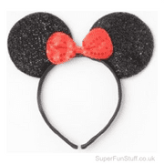 Mouse Ears Headband - Black Glitter & Red Bow