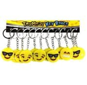 Set of 12 Rubber Emoji Smile Face Keyrings