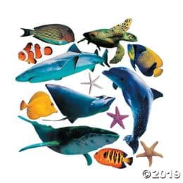 Set of 13 Large Realistic Sea Life Animal Cardboard Cut Outs | Kid's Party Decoration
