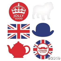Set of 6 British Giant Party Cut Outs | Photo Booth Union Jack Prop Decoration