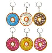 Set of 6 Colourful Doughnut Keyrings (5cm)