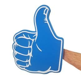 Thumbs Up or Thumbs Down Big Foam Hand - 7 Colours | Funny Fancy Dress Audience Prop