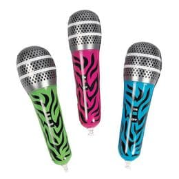 Zebra Print Inflatable Microphone Small | Blow Up Toy