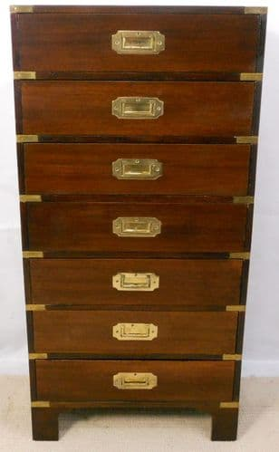Antique Military Style Tall Narrow Chest of Drawers - SOLD