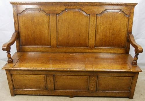 Antique Style Panelled Oak Large Settle - SOLD