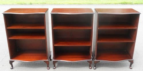 Bookcases Mahogany Set of Three Open Front