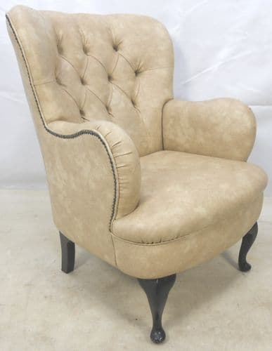Button Back Leather Look Wing Armchair - SOLD