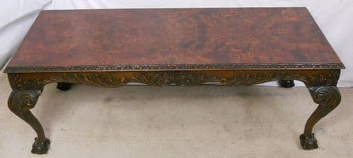 Carved Burr Walnut Long Coffee Table - SOLD