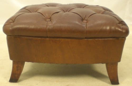 Deep Buttoned Leather Footstool