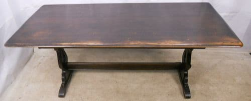 Ercol Dark Elm Refectory Dining Table to Seat Eight - SOLD