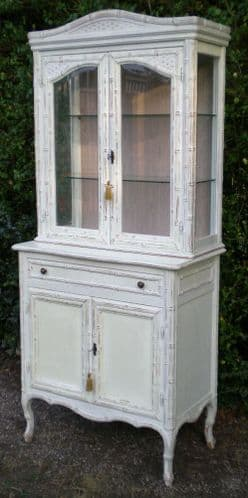 French Style Painted Display China Cabinet