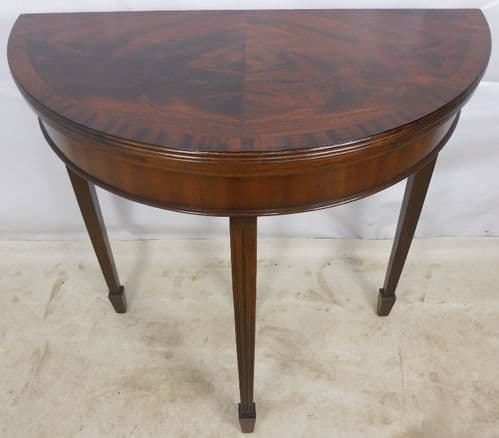 Georgian Style Mahogany D-end Fold Over Card Table - SOLD