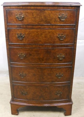 Georgian Style Walnut Bowfront Chest of Drawers - SOLD