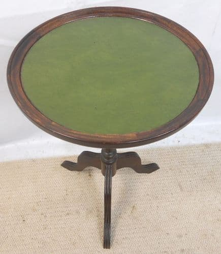 Green Leather Top, Tripod Wine Table