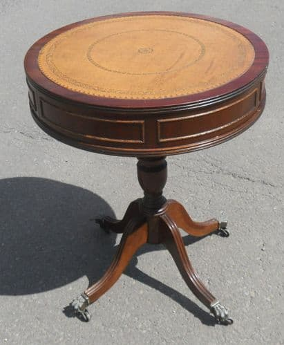 Leather Top Mahogany Pedestal Wine Table