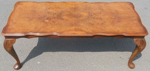 Long Walnut Coffee Table in Antique Queen Anne Style