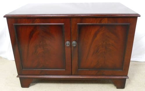 Low Mahogany Two Door Standing Cupboard